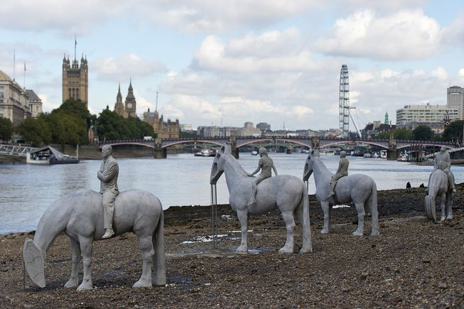 "Eco-sculptor Jason deCaires Taylor's ""Rising Tides"" installation on the River Thames, London."