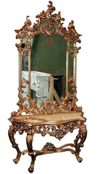 19th Century Mirrored Console With White Marble Top