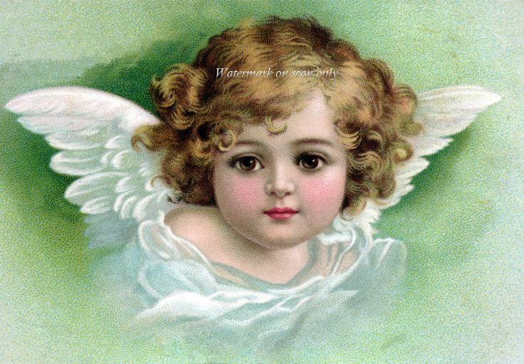 Angel Fabric Block Cherub with Wings Green Pink by KatyDidsFabrics