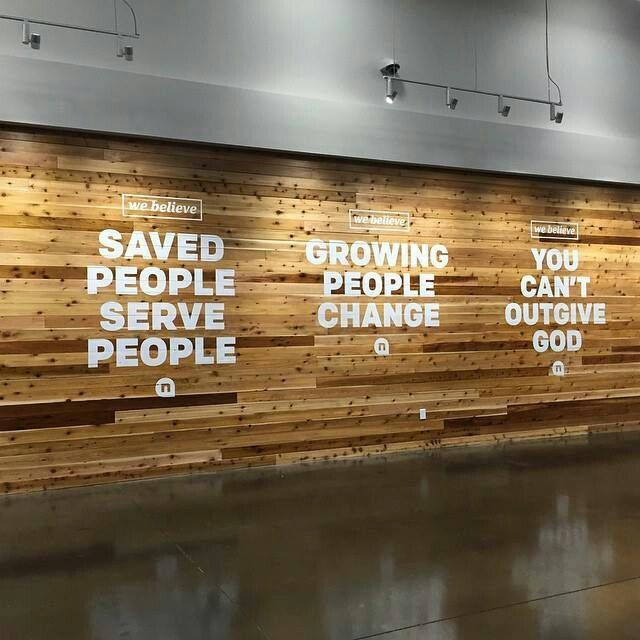 Mission statement wall Newspring church.                                                                                                                                                                                 More