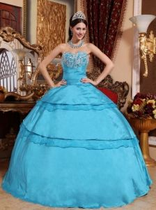 Perfect Aqua Blue Quinceanera Dress Sweetheart Taffeta Appliques Ball Gown