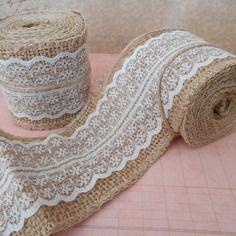 2 mètres de rubans /galons toile de jute orné de dentelles blanche