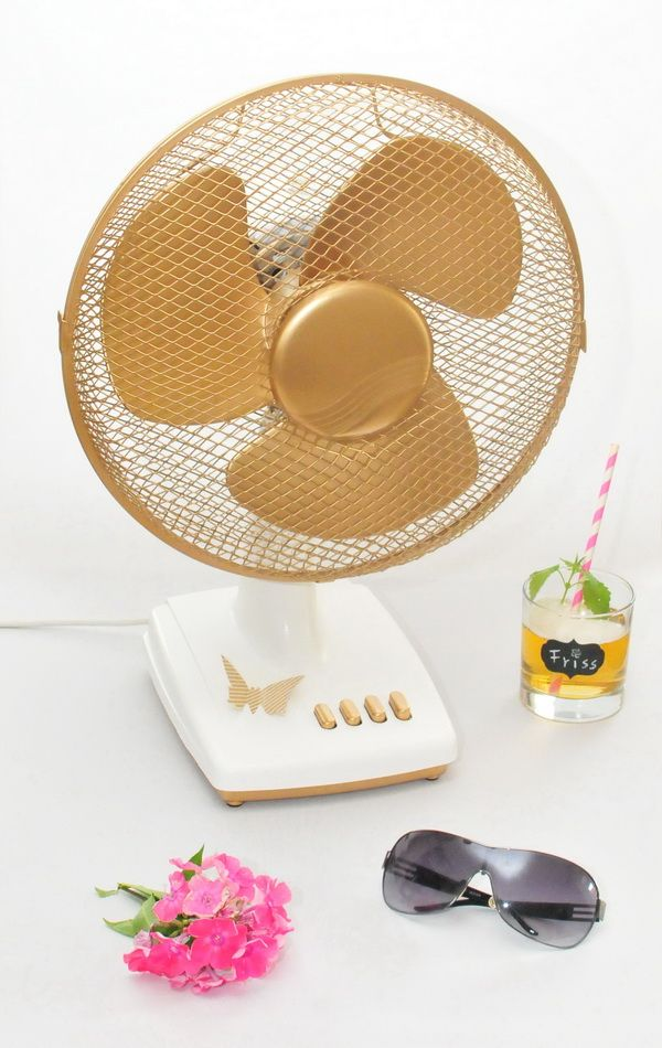 Novasol Evolution in Gold used here to transform a tired desk fan into something more up to date
