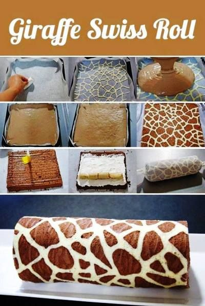 Giraffe Pattern Swiss Roll Recipe - If I were a good Mom, I would learn how to make this!