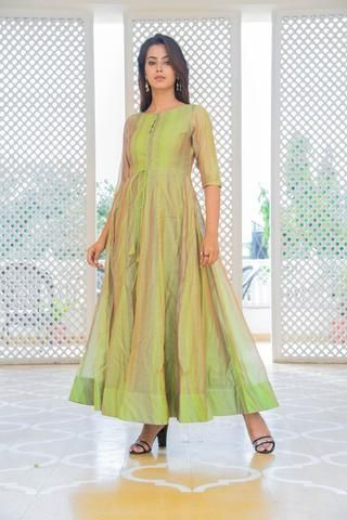 32cf8405bc8366 Clemonte Utsav Green Tussar silk kurta