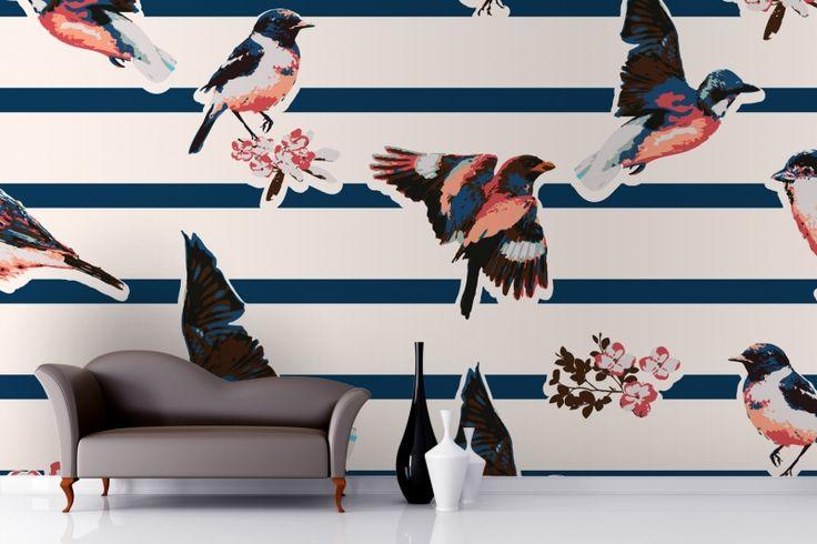 Vintage Colourful Birds Wallpaper Mural
