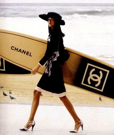 Chanel.  Love It! I've never seen anyone surf in chanel, they need to film this.: Coco Chanel, Style, Fashion Models, Surfing Boards, Chanel Surfing, Fashion Trends, Chanel Surfboard, Surfers Girls Fashion Outfits, Chanel Fashion