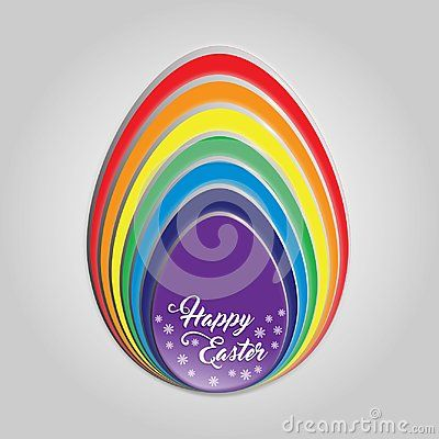 Happy Easter egg rainbow color`s. Slices of egg stack on each other in rainbow color. Happy Easter words  text hand writing font with flowers isolated on grey  background.