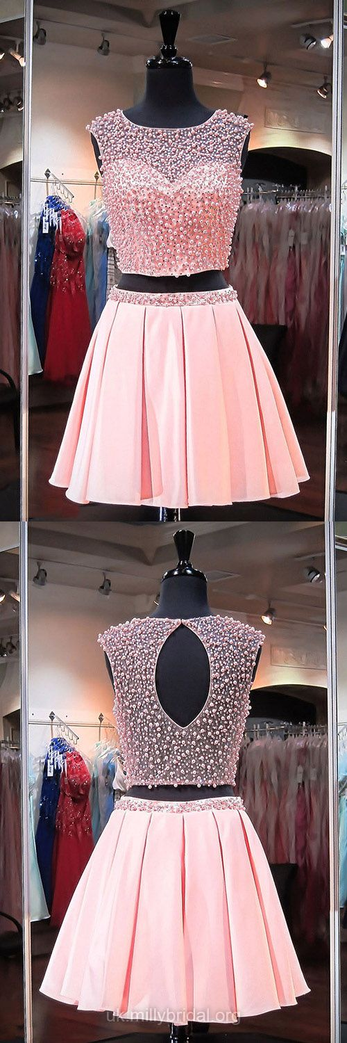 Two Piece Prom Dresses Pink, Short Prom Dresses For Teens 2018, A-line Cocktail Dresses Scoop Neck, Satin Tulle Homecoming Party Dresses Crystal Detailing
