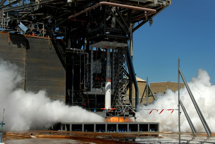 A 5-percent scale model of the Space Launch System (SLS) core stage fires up for another round of acoustic testing at NASA's Marshall Space Flight Center in Huntsville, Ala.