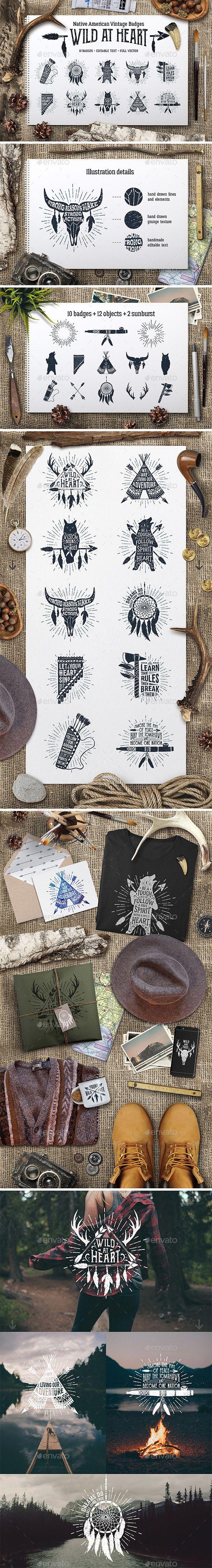 Wild at Heart Native American Vintage Badges Templates Vol.1 - PSD, Transparent PNG, Vector EPS, AI Illustrator