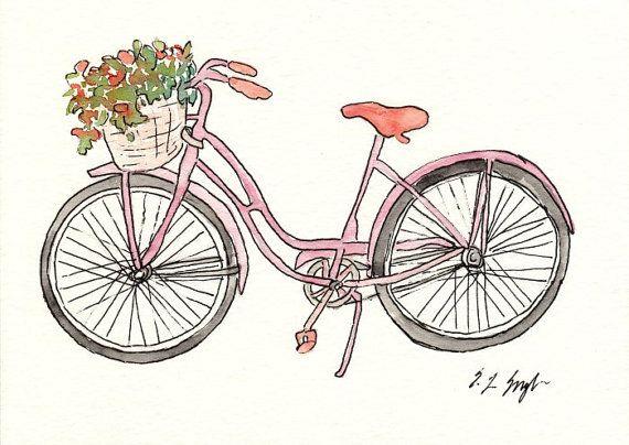 Little Pink Bike, Original Watercolor Painting, Vintage, Flower Basket, 5x7, illustration