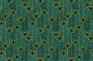 Punjab Peacock Fabric by IMAN - eclectic - upholstery fabric - by Jan Jessup.  Bed scarf?