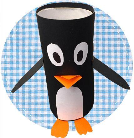 Wat heb je nodig per pinguïn           1 Wc-rol     Zwarte verf of zwart papier     Stevig Wit papier (onder andere voor de buik)     Geel of oranje papier     Schaar     Lijm     Kwasten