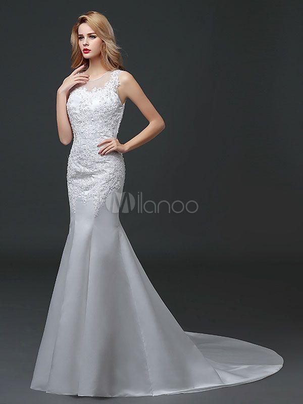 90504f49e3 Vestido de noiva sereia em forma de trombeta sereia gola redonda sem mangas  Fecho Tecido