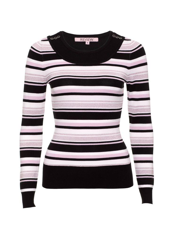 Billie Jumper | Cream/Black/Blush | Stripe Knit