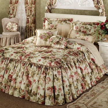Springfield Ruffled Flounce Bedspread Bedding - like the fabric, but no ruffles.