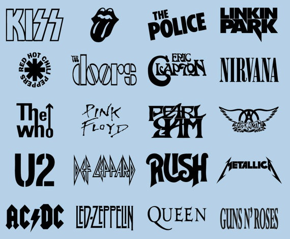 Rock Band Logos Music Vinyl Wall Sticker Decal by BlackfinGraphics, $4.99