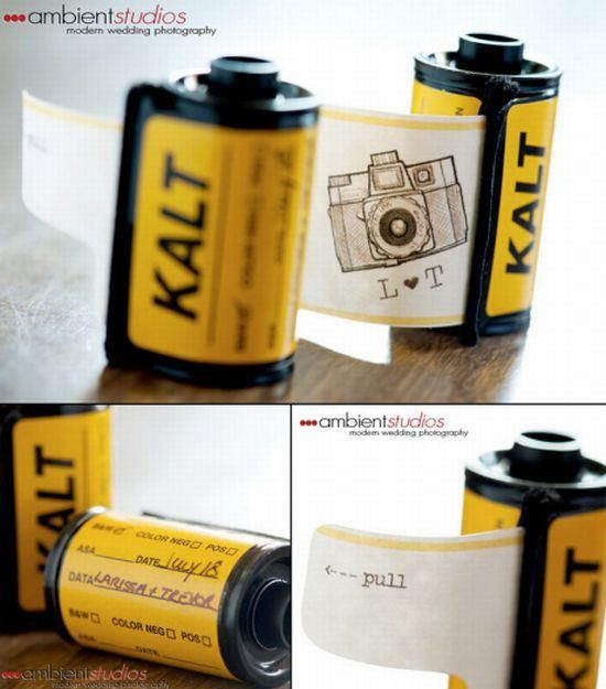Wedding Idea !  Isn't the idea of sending your wedding invitation in film canisters an out-of-the-box thinking? This is exactly what a couple did to invite people on their big day. Partners in a photography studio, Trevor and Larissa came up with the ingenious idea of utilizing the 35mm film canisters as invitations, which can be re-used. These film canisters can be reused as actual functioning film reels both before and after putting their new life as a wedding invite.