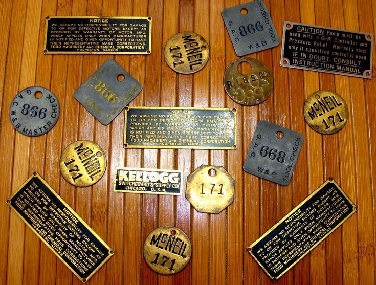 Old Metal tag lot-Vintage industrial tags-Machine age ...