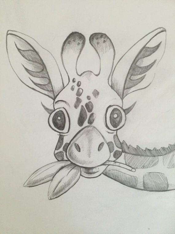 Baby Giraffe Sketch Print Giraffe Pencil Sketch By Nikiink On Etsy
