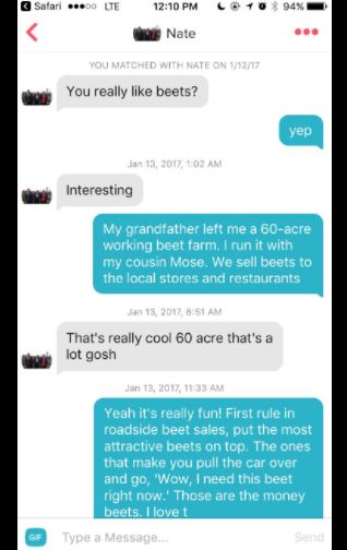 """This past weekend Caroline logged on to Tinder and matched with a guy. She'd just finished binge-watching the US version of The Office and decided to see how far she could go in the conversation only using quotes from the show. Mostly, it was all about being a beet farmer, just like The Office's resident weirdo Dwight K. Schrute. 