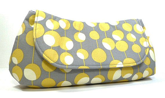Gray Yellow Clutch Bag Purse Circles and Lines by CreationsByAngel, $30.00