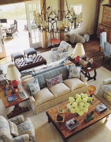 Bring back intimacy in a large room with back to back for Large living room design layout