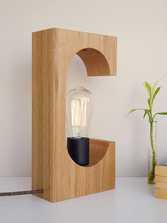 Abstract sculpture wooden lamp with dimmer modern wooden