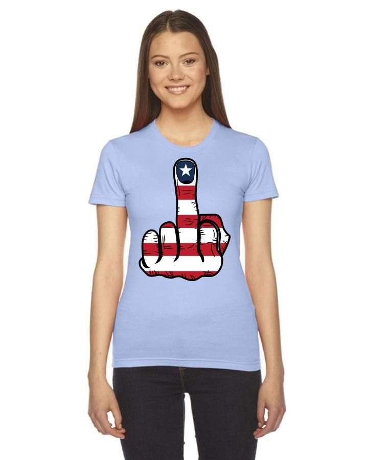 middle finger usa flag Ladies Fitted T-Shirt