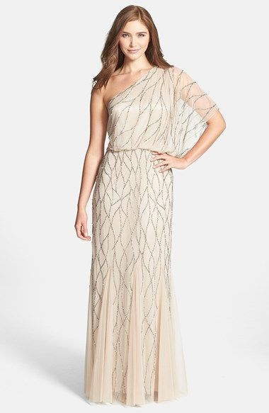 One shoulder beaded neutral bridesmaid gown