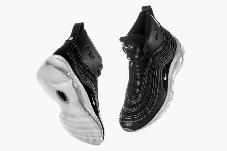 NikeLab x Riccardo Tisci Air Max '97 Mid | NikeLab continues its collaborative partnership with Riccardo Tisci this season with a contemporary update on the revered Air Max '97 silhouette. Opting for a mid cut design, the trainer features a build from premium tumbled leather, touches of suede and gold foil embossing hints all resting on tops of the classic full length Air midsoles. Finished with tonal rope laces, heel pull tab and dual branded hardware.