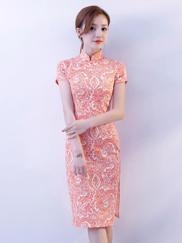 9dda5c1b38541 Pink Stretch Cotton Cheongsam Mini Dress in 2019