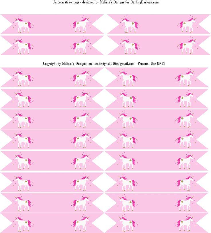 Unicorn Straw Tags