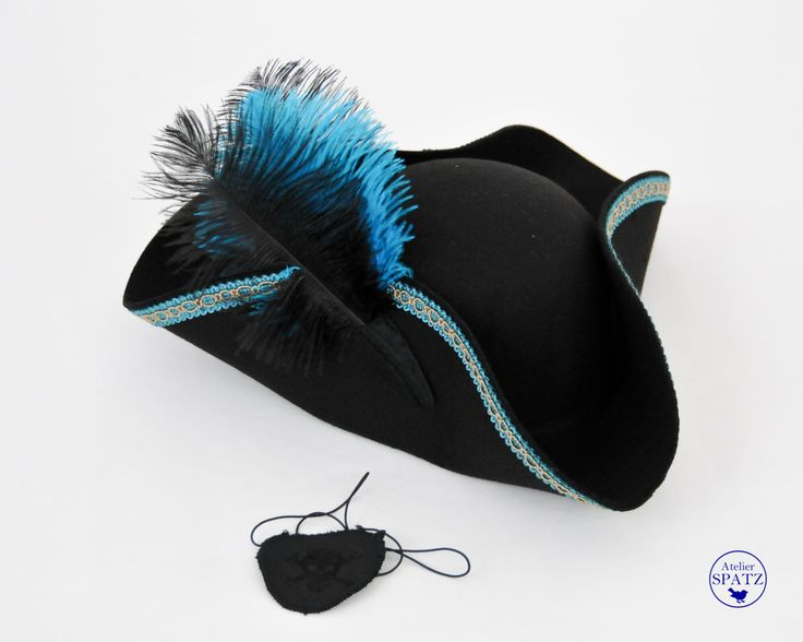 Kids Pirate Hat | Tricorn  | Buccaneer | Swashbuckler | Black Wool Felt Hat with ostrich feathers and trim by AtelierSpatz on Etsy