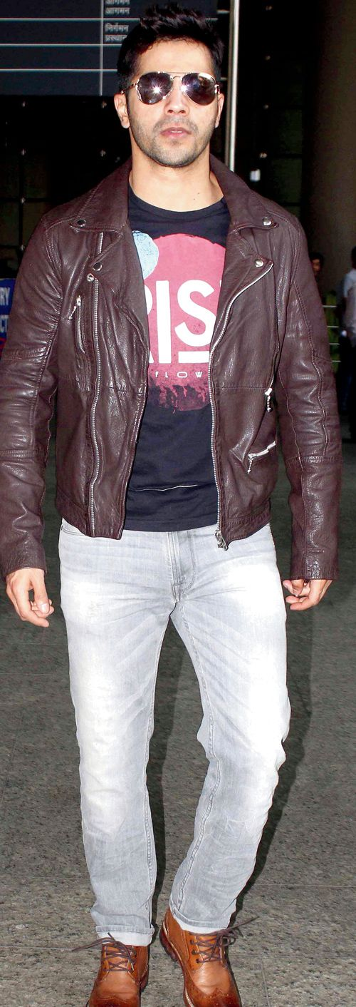 Varun Dhawan spotted at the Mumbai airport. #Bollywood #Fashion #Style #Handsome