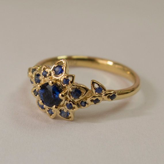 Blue Sapphire Petal Engagement Ring  - 14K Gold and Sapphire engagement ring by Doron Merav