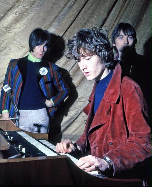 "adandyinaspic:  "" Andy Bown of The Herd with Steve Winwood and Chris Wood, 1968  """