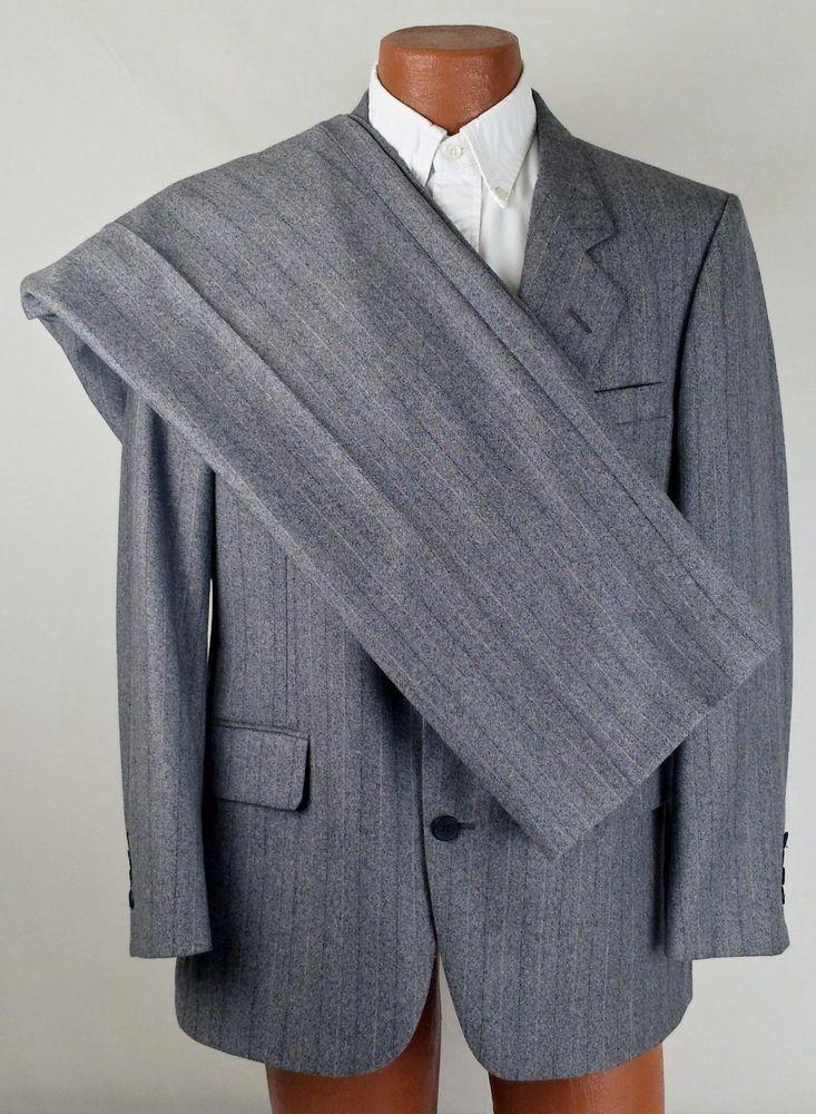 """PIERRE CARDIN MENS PANT SUIT Gray Pinstripe 2 Button 42"""" Chest 35x27 Wool EUC #PierreCardin #TwoButton"""
