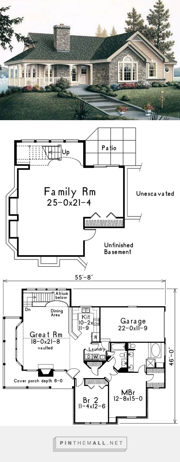 Traditional Style House Plan - 2 Beds 2.00 Baths 1415 Sq/Ft Plan #57-185 - created via https://pinthemall.net