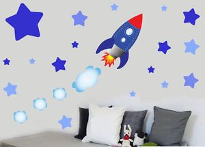 Childrens-Rocket-Ship-Space-Stars-Wall-Art-Stickers-Decals-Spaceship-Sky