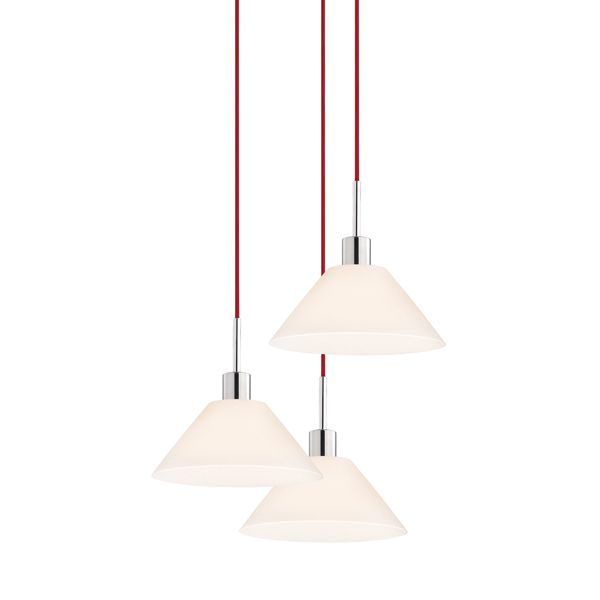 Sonneman Glass Pendants 3 Light Pendant With White Shade Polished Chrome Red Cord
