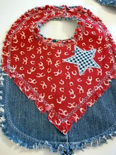 Denim Baby Bibs - This is a great way to recycle some of those old jeans.