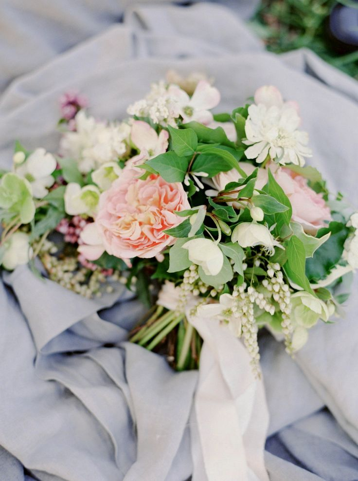Beautiful Peach And White Garden Style Bouquet Wedding Flowers