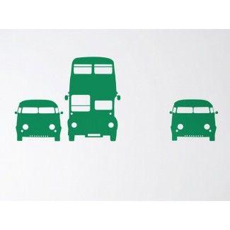 Muursticker Auto's groen