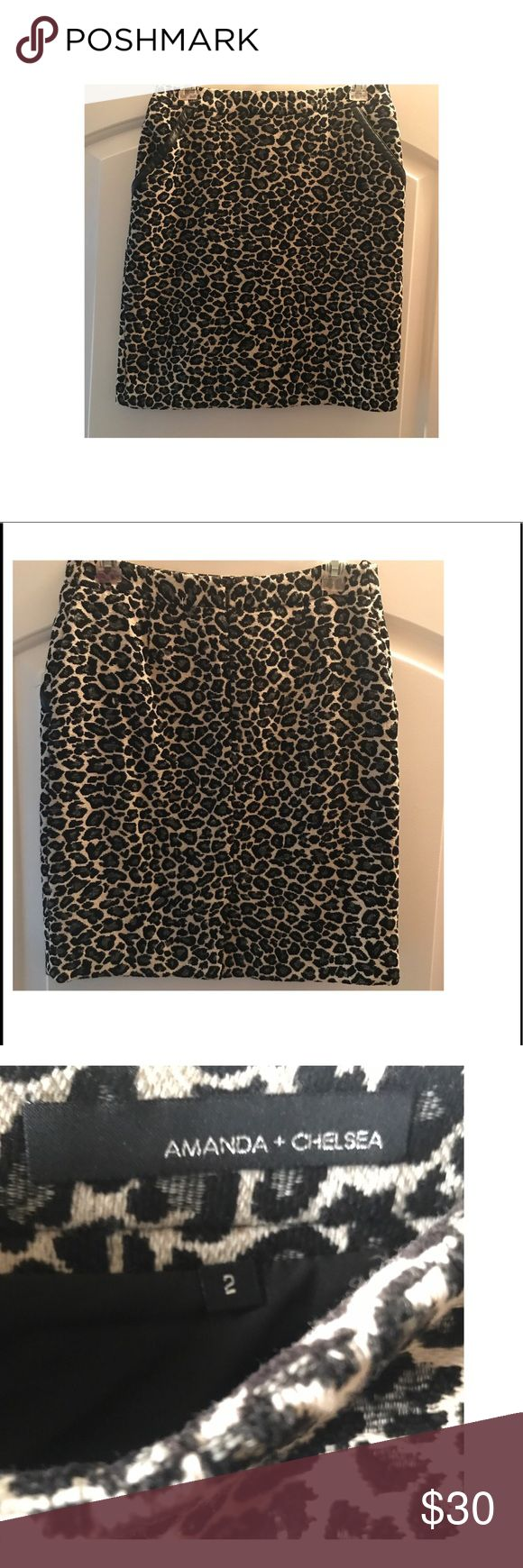 Leopard pencil skirt with leather accented pockets A perfect addition to your closet. This skirt can be worn at the office and a perfect transition piece for happy hour! Fits beautifully and the pockets give this piece an edgy luxurious vibe. Amanda & Chelsea Skirts Pencil