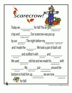 fall mad libs scarecrow 231x300 Fall Mad Libs for Kids