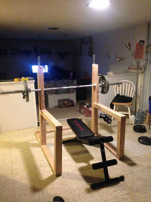 Diy Squat Rack And Bench Press Diy Home Gym Gym Room At Home Home Made Gym