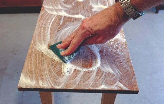 The soap solution can then simply be applied by either cloth or nylon scourer. ~ Wood Flooring Tutorial DIY