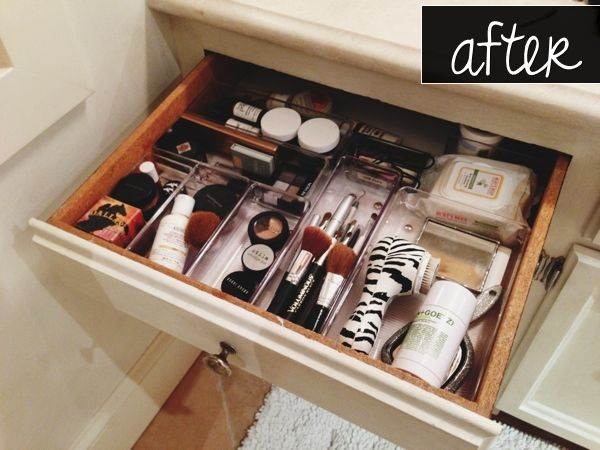 After: Organized makeup drawer